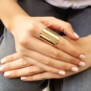 Solid brass adjustable statement shield ring.